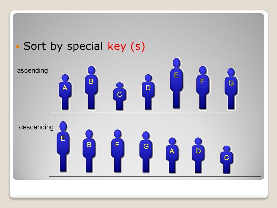 Sort by special key (s) A B C D E F G ascending A B C D E F G