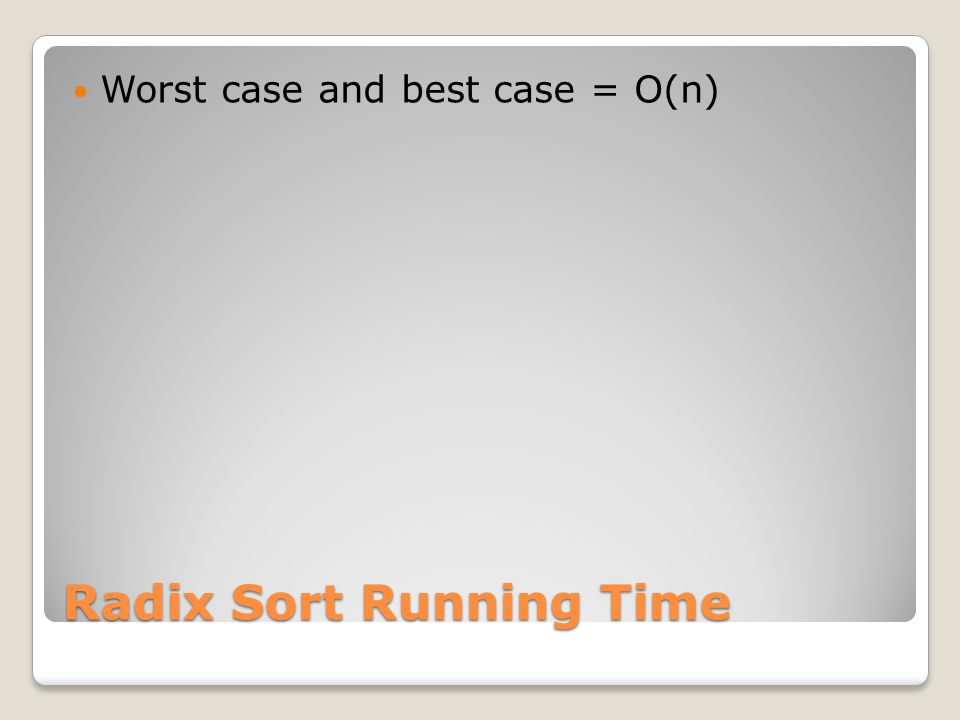 Radix Sort Running Time