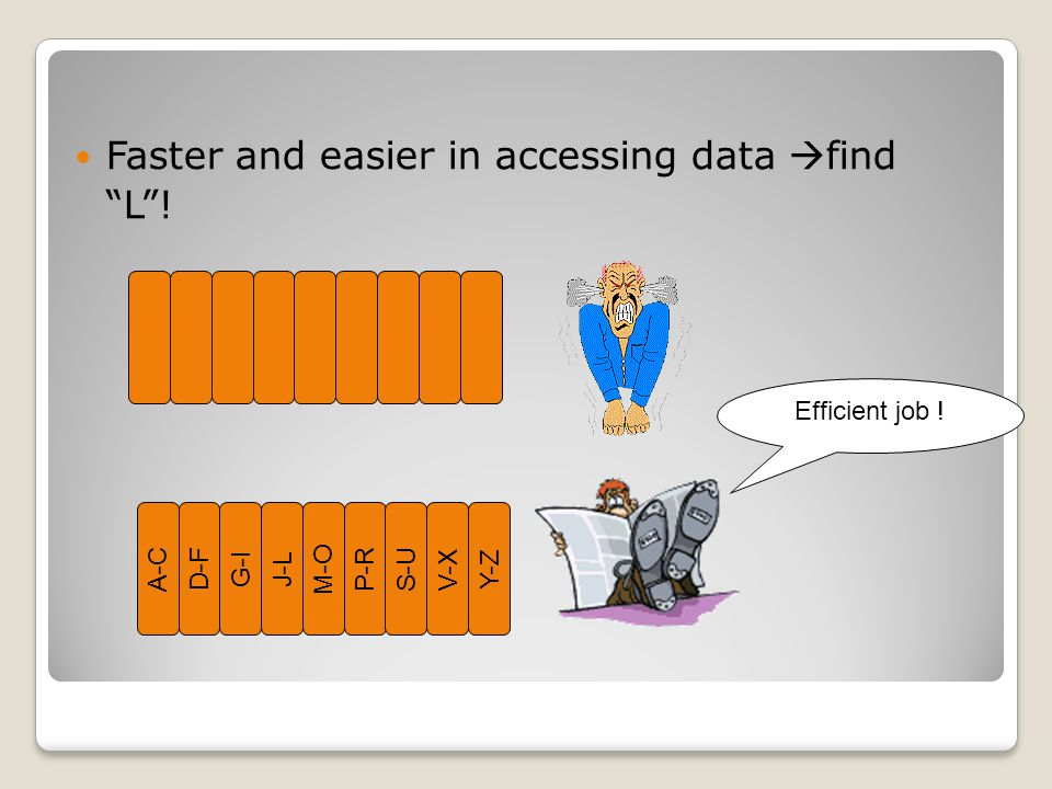 Faster and easier in accessing data find L !