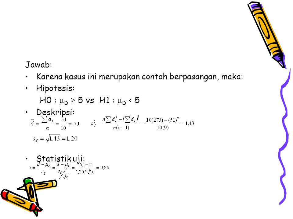 H0 : D  5 vs H1 : D < 5 Jawab: