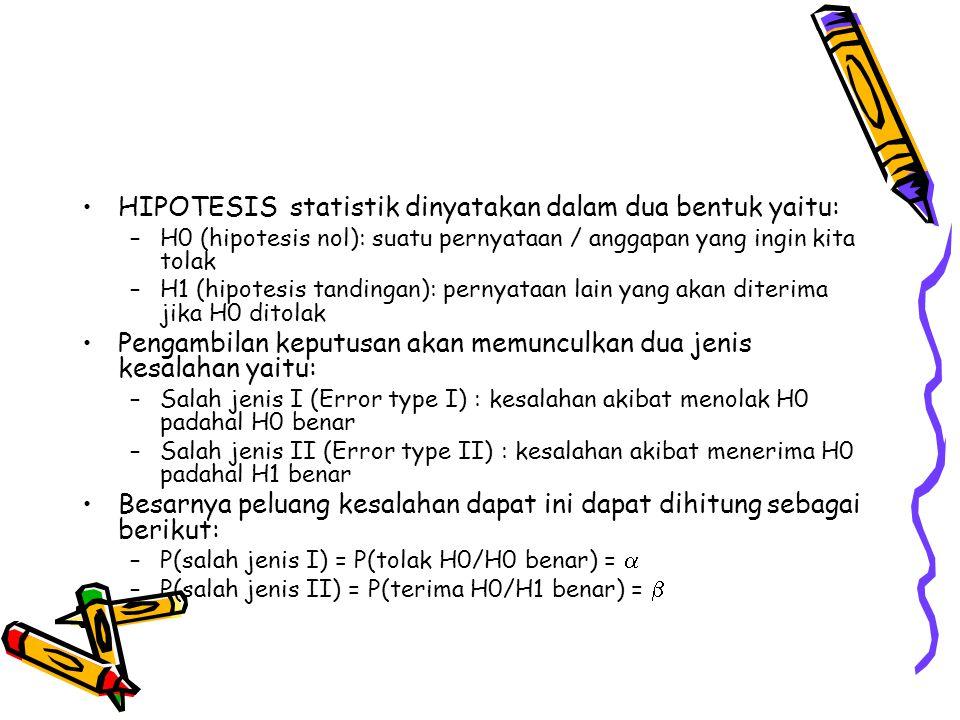 HIPOTESIS statistik dinyatakan dalam dua bentuk yaitu: