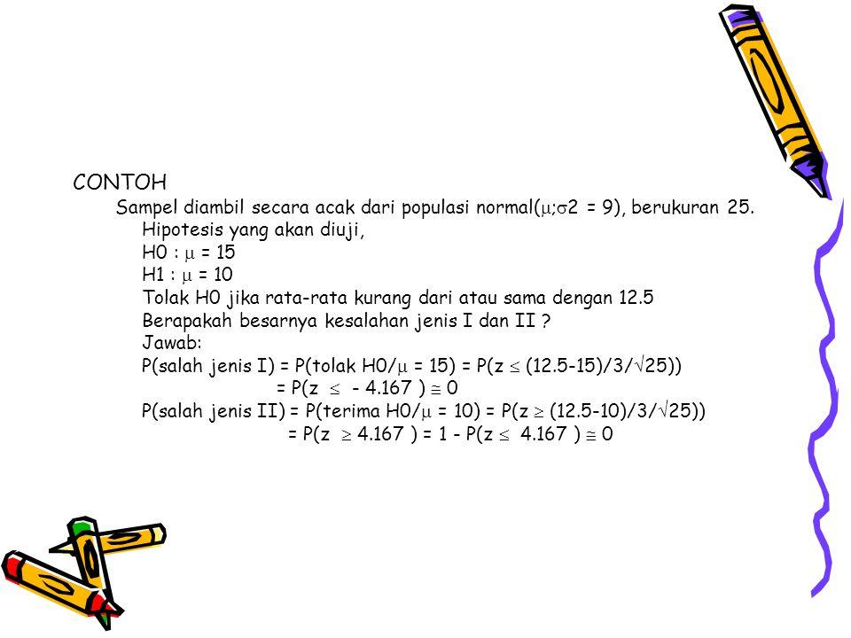 CONTOH Sampel diambil secara acak dari populasi normal(;2 = 9), berukuran 25. Hipotesis yang akan diuji,