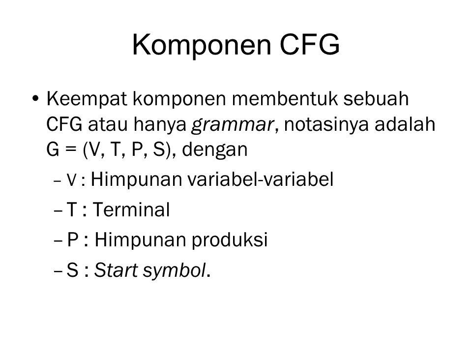 Komponen CFG Keempat komponen membentuk sebuah CFG atau hanya grammar, notasinya adalah G = (V, T, P, S), dengan.
