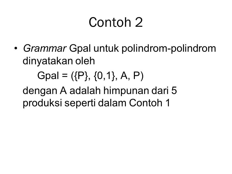 Contoh 2 Grammar Gpal untuk polindrom-polindrom dinyatakan oleh