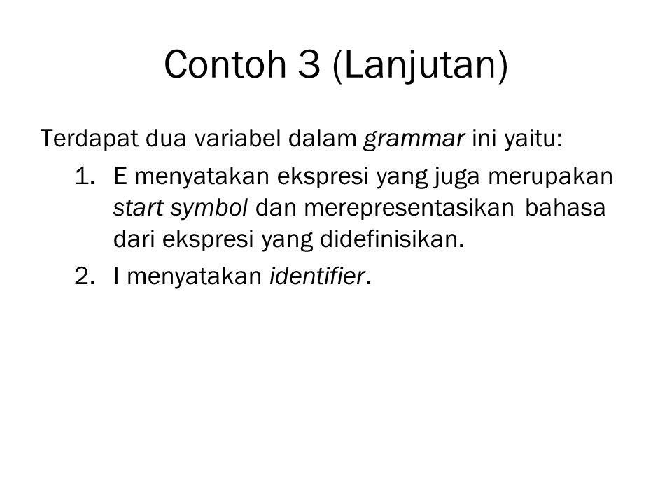 Contoh 3 (Lanjutan) Terdapat dua variabel dalam grammar ini yaitu: