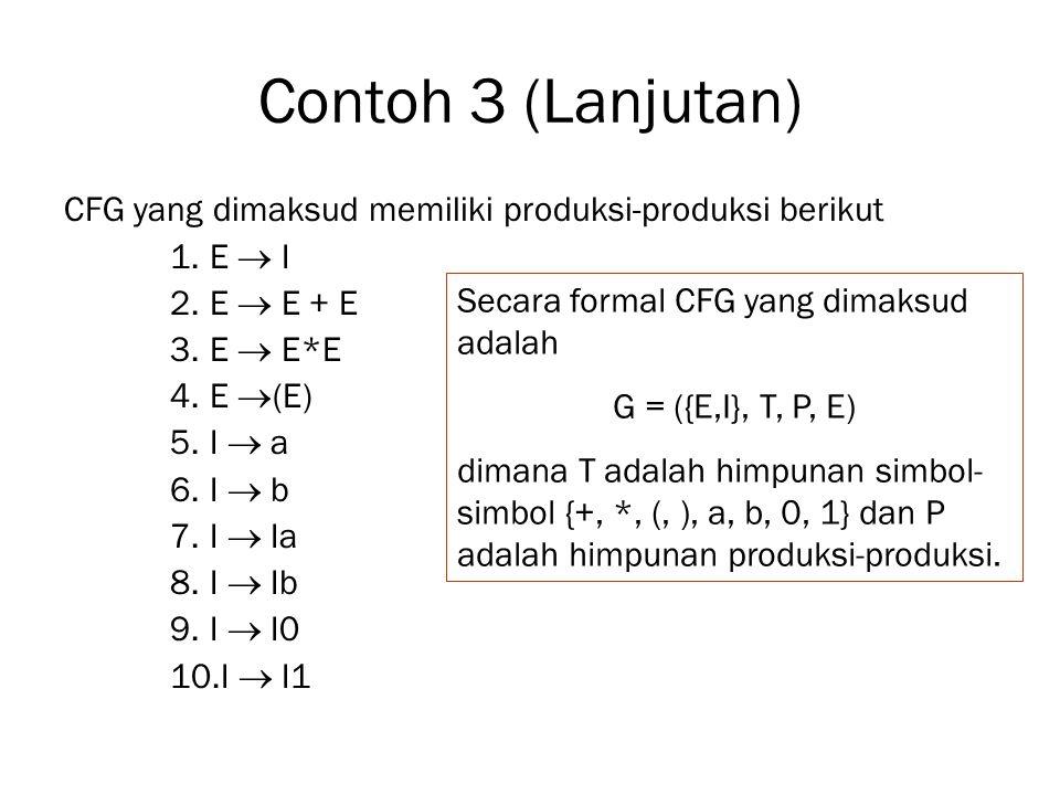 Contoh 3 (Lanjutan) CFG yang dimaksud memiliki produksi-produksi berikut. E  I. E  E + E. E  E*E.