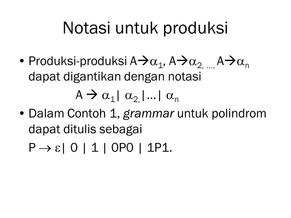 Notasi untuk produksi Produksi-produksi A1, A2, …, An dapat digantikan dengan notasi. A  1| 2,|…| n.