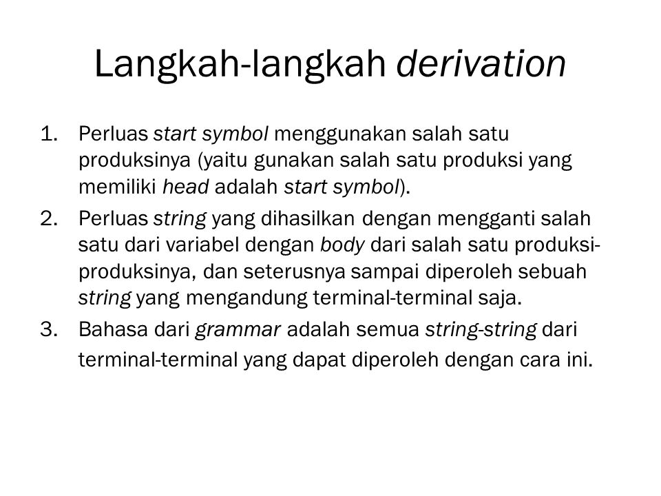 Langkah-langkah derivation