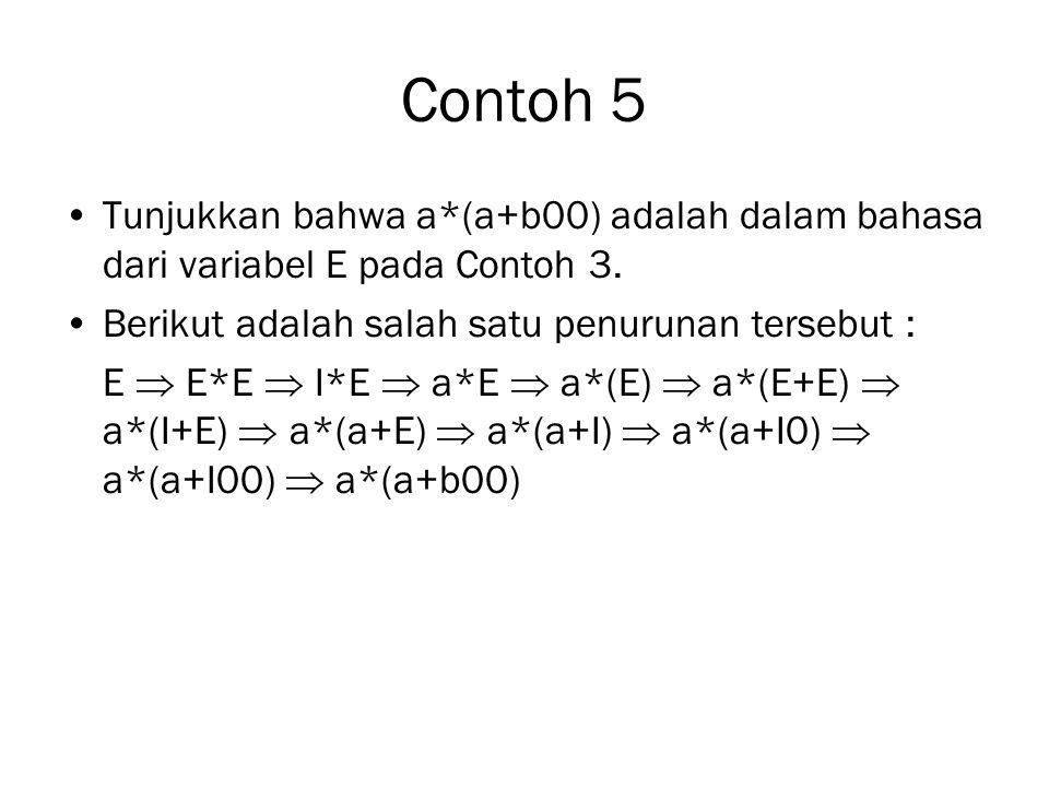 Contoh 5 Tunjukkan bahwa a*(a+b00) adalah dalam bahasa dari variabel E pada Contoh 3. Berikut adalah salah satu penurunan tersebut :