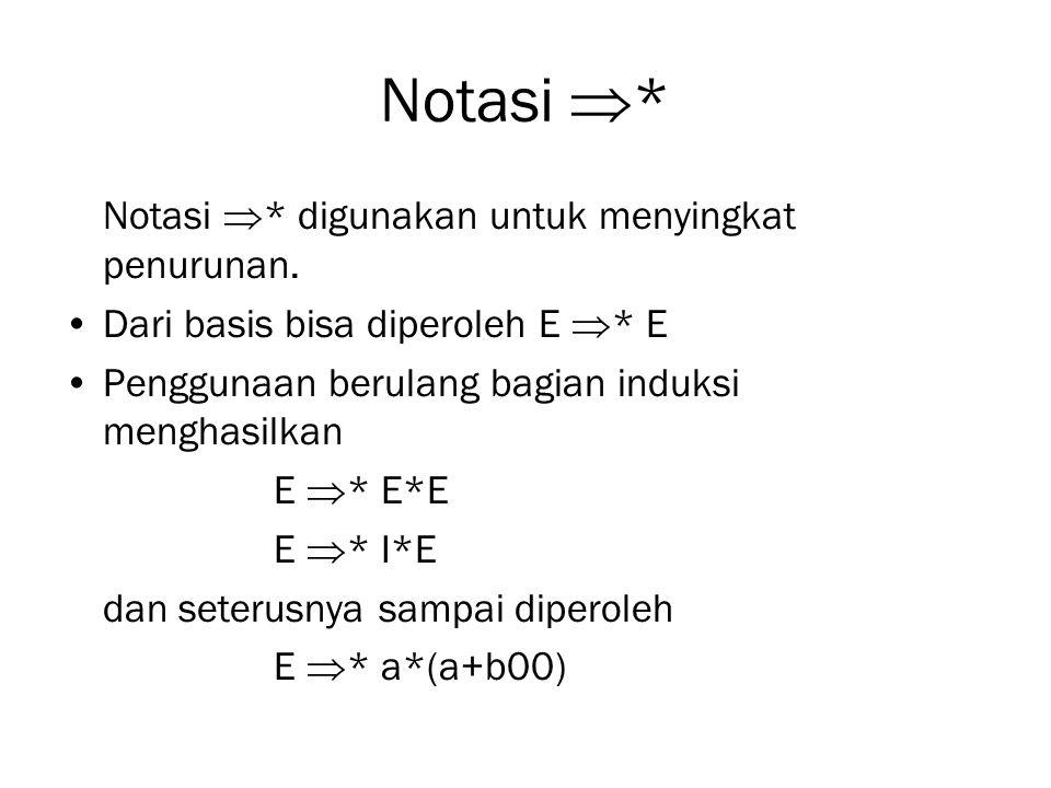 Notasi * Notasi * digunakan untuk menyingkat penurunan.
