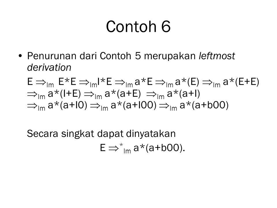 Contoh 6 Penurunan dari Contoh 5 merupakan leftmost derivation