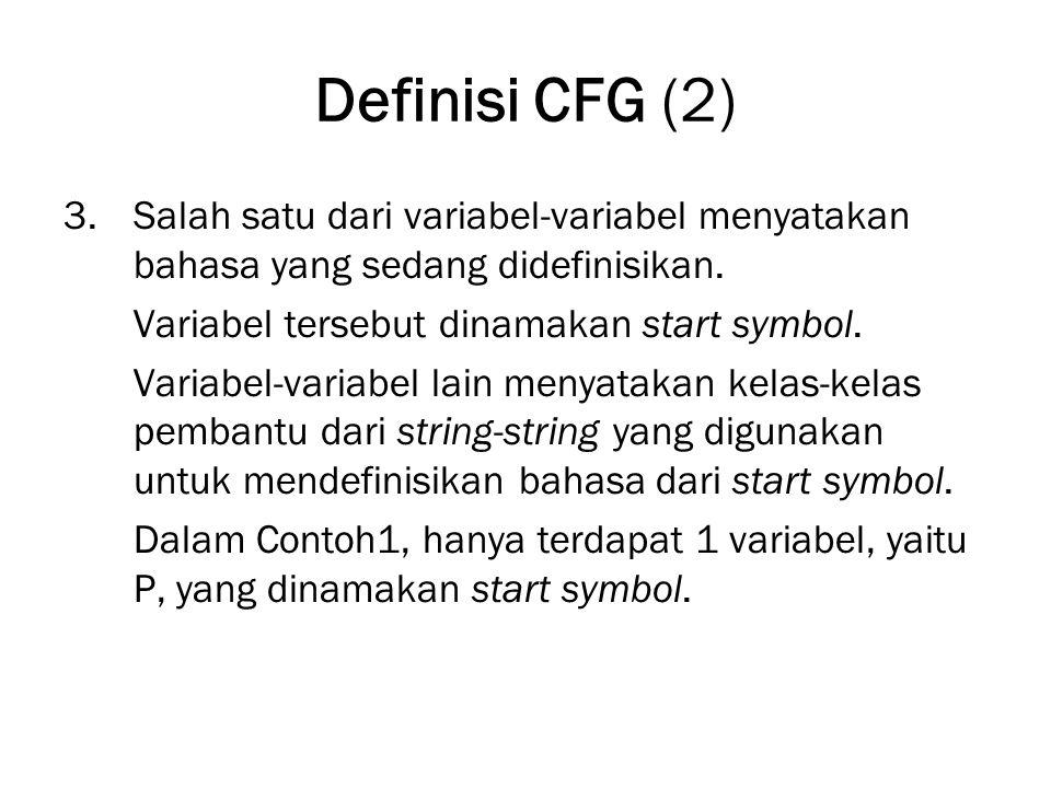 Definisi CFG (2) Salah satu dari variabel-variabel menyatakan bahasa yang sedang didefinisikan. Variabel tersebut dinamakan start symbol.
