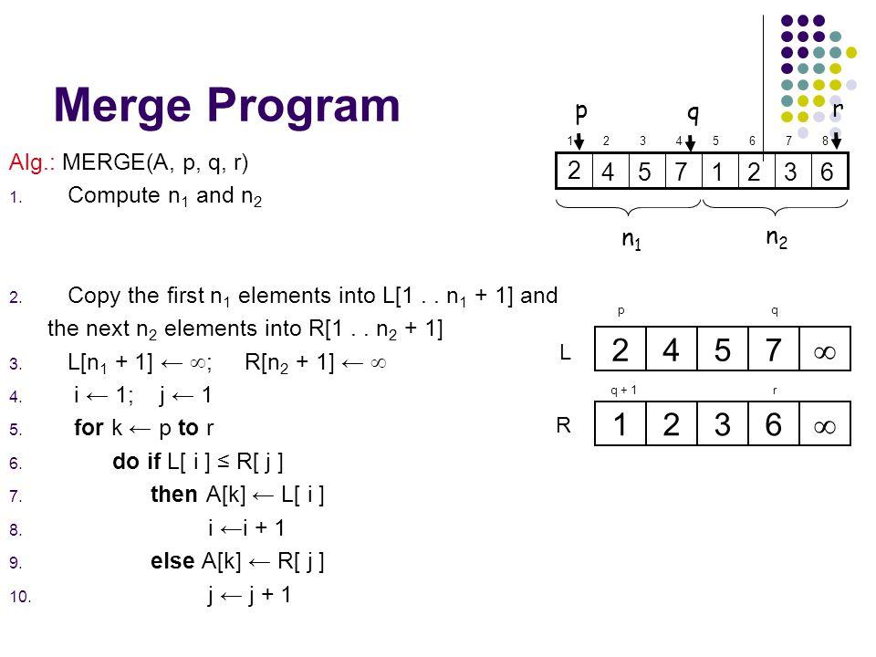 Merge Program 7 5 4 2 6 3 1  p r q n1 n2 Alg.: MERGE(A, p, q, r)