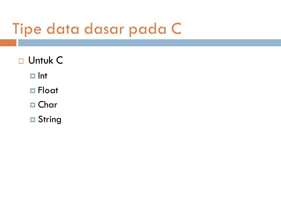 Tipe data dasar pada C Untuk C Int Float Char String
