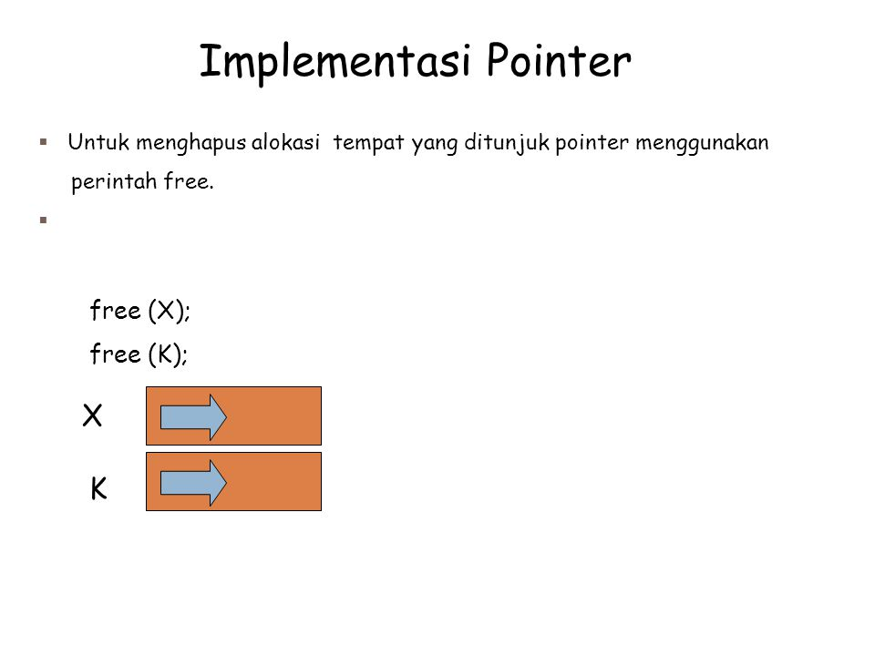 Implementasi Pointer X K free (X); free (K);
