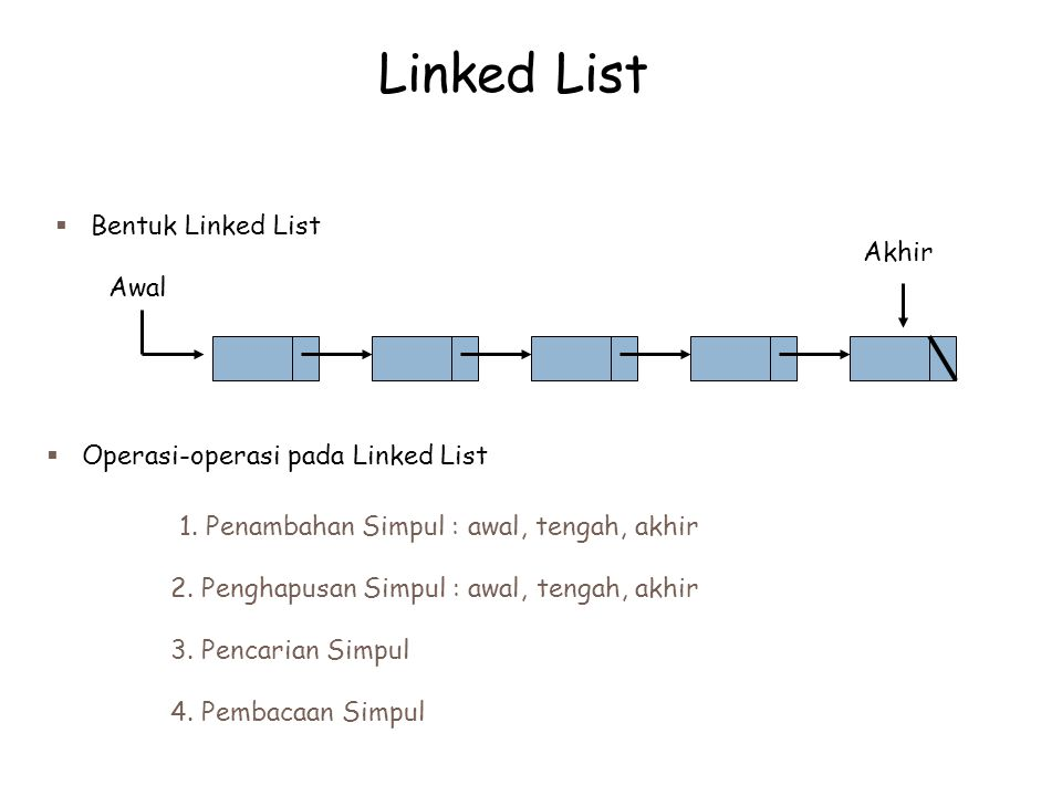 Linked List Bentuk Linked List Akhir Awal