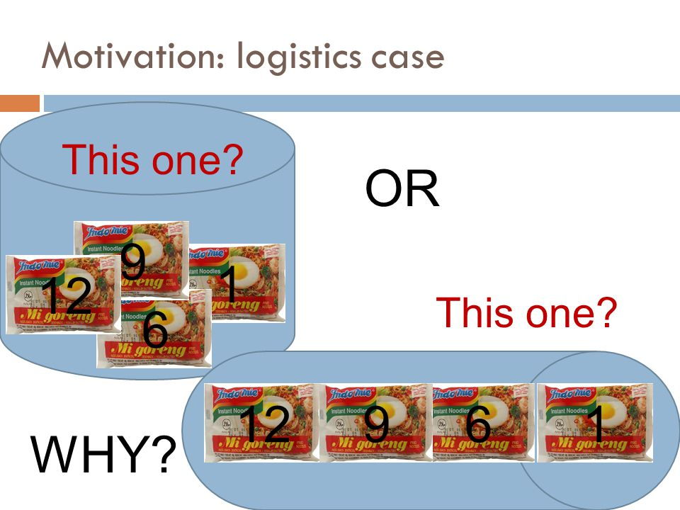 1 6 9 12 OR 12 9 6 1 WHY Motivation: logistics case This one