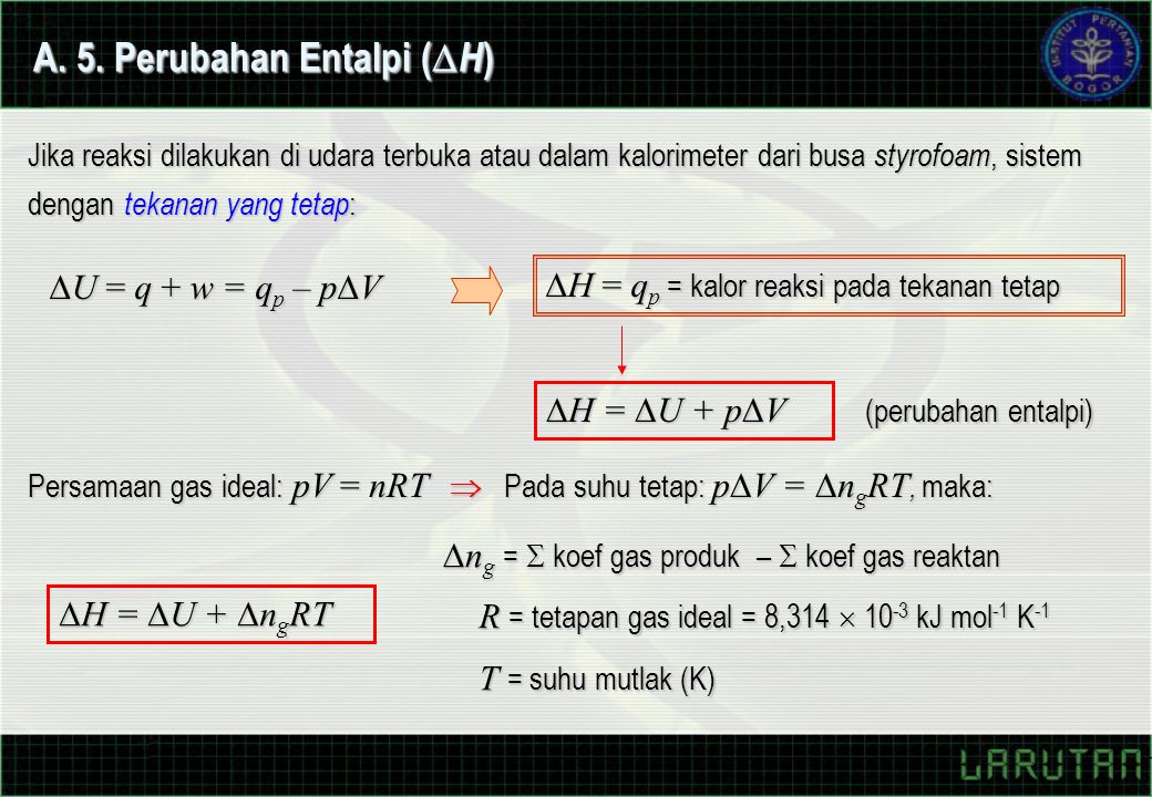 A. 5. Perubahan Entalpi (H)