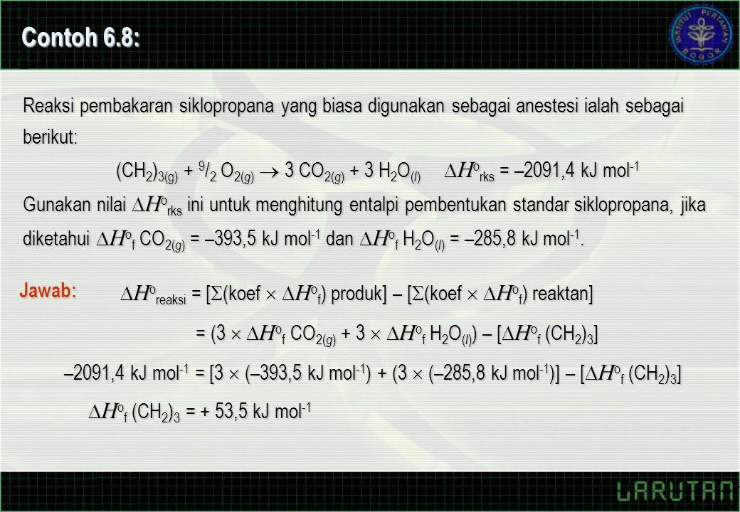 Contoh 6.8: Reaksi pembakaran siklopropana yang biasa digunakan sebagai anestesi ialah sebagai berikut: