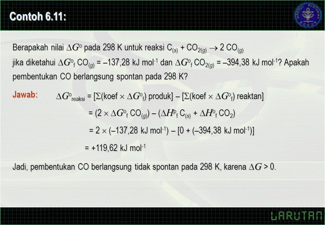 Contoh 6.11: Berapakah nilai Go pada 298 K untuk reaksi C(s) + CO2(g)  2 CO(g)