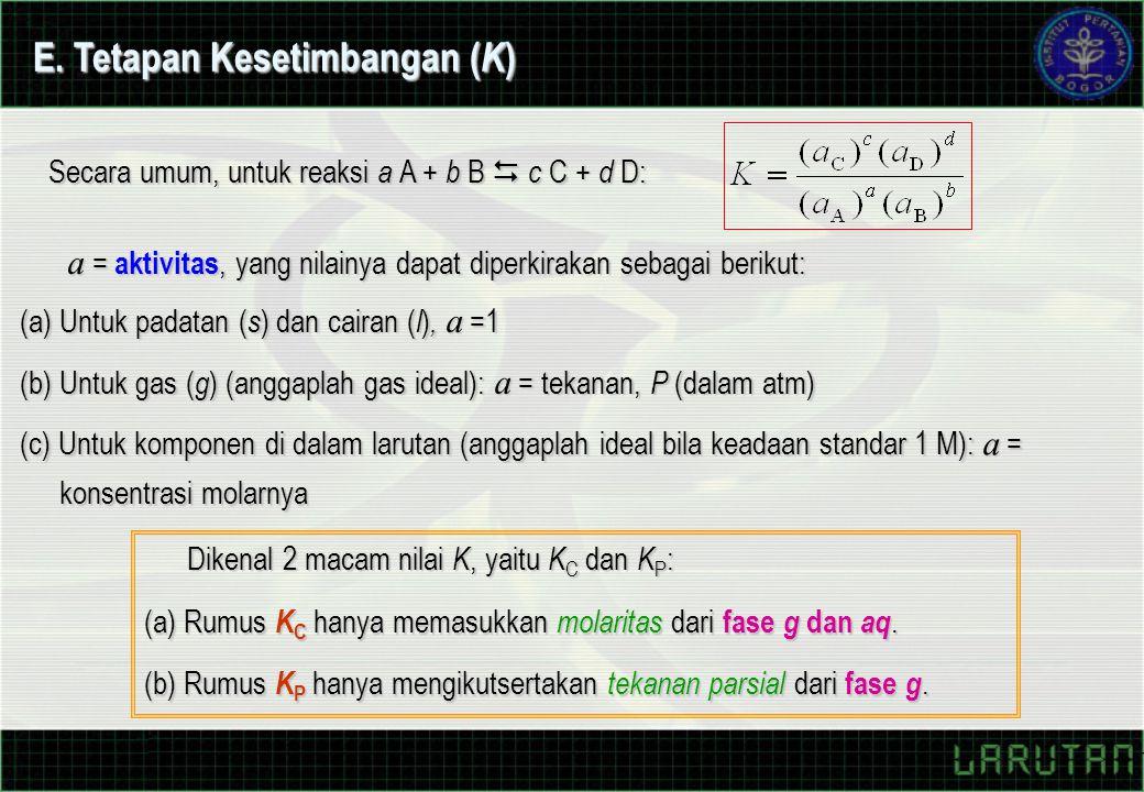 E. Tetapan Kesetimbangan (K)