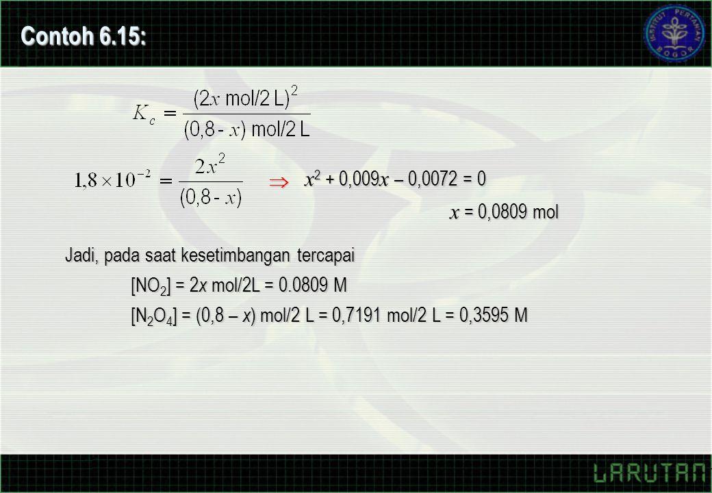 Contoh 6.15: x2 + 0,009x – 0,0072 = 0. x = 0,0809 mol.  Jadi, pada saat kesetimbangan tercapai.