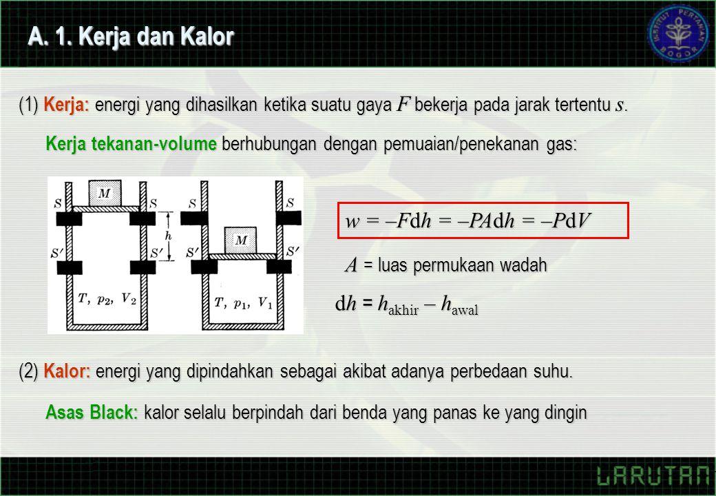 A. 1. Kerja dan Kalor w = –Fdh = –PAdh = –PdV A = luas permukaan wadah