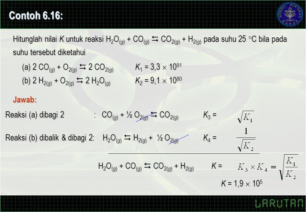 Contoh 6.16: Hitunglah nilai K untuk reaksi H2O(g) + CO(g)  CO2(g) + H2(g) pada suhu 25 °C bila pada suhu tersebut diketahui.