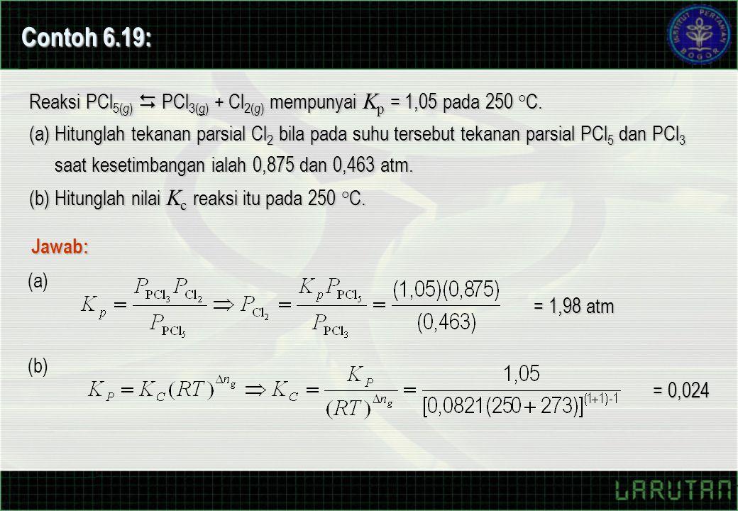Contoh 6.19: Reaksi PCl5(g)  PCl3(g) + Cl2(g) mempunyai Kp = 1,05 pada 250 °C.