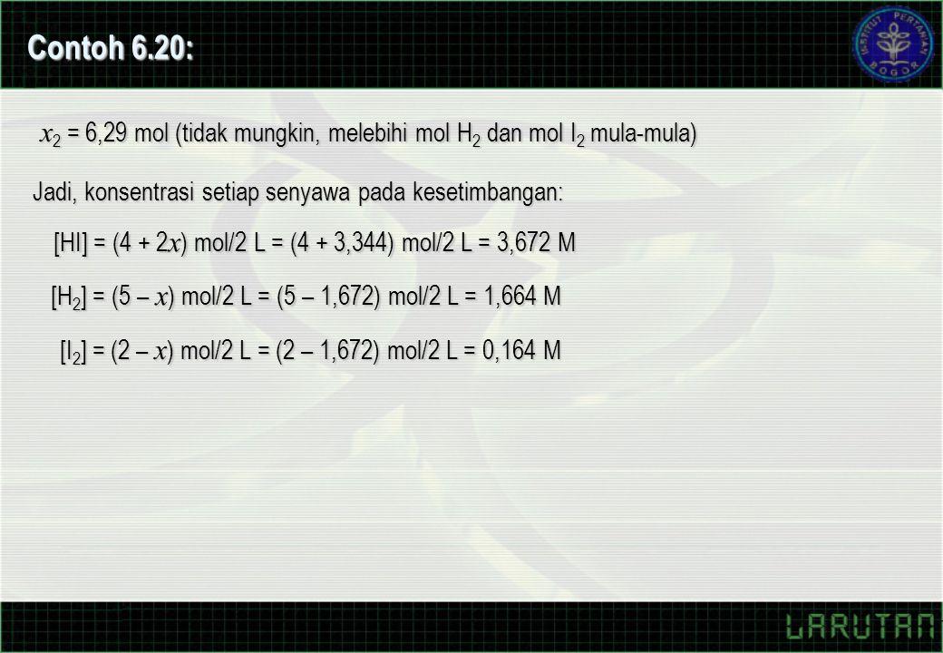 Contoh 6.20: x2 = 6,29 mol (tidak mungkin, melebihi mol H2 dan mol I2 mula-mula) Jadi, konsentrasi setiap senyawa pada kesetimbangan:
