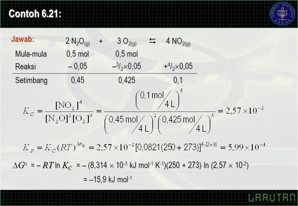 Contoh 6.21: Jawab: 2 N2O(g) + 3 O2(g)  4 NO2(g) Mula-mula 0,5 mol