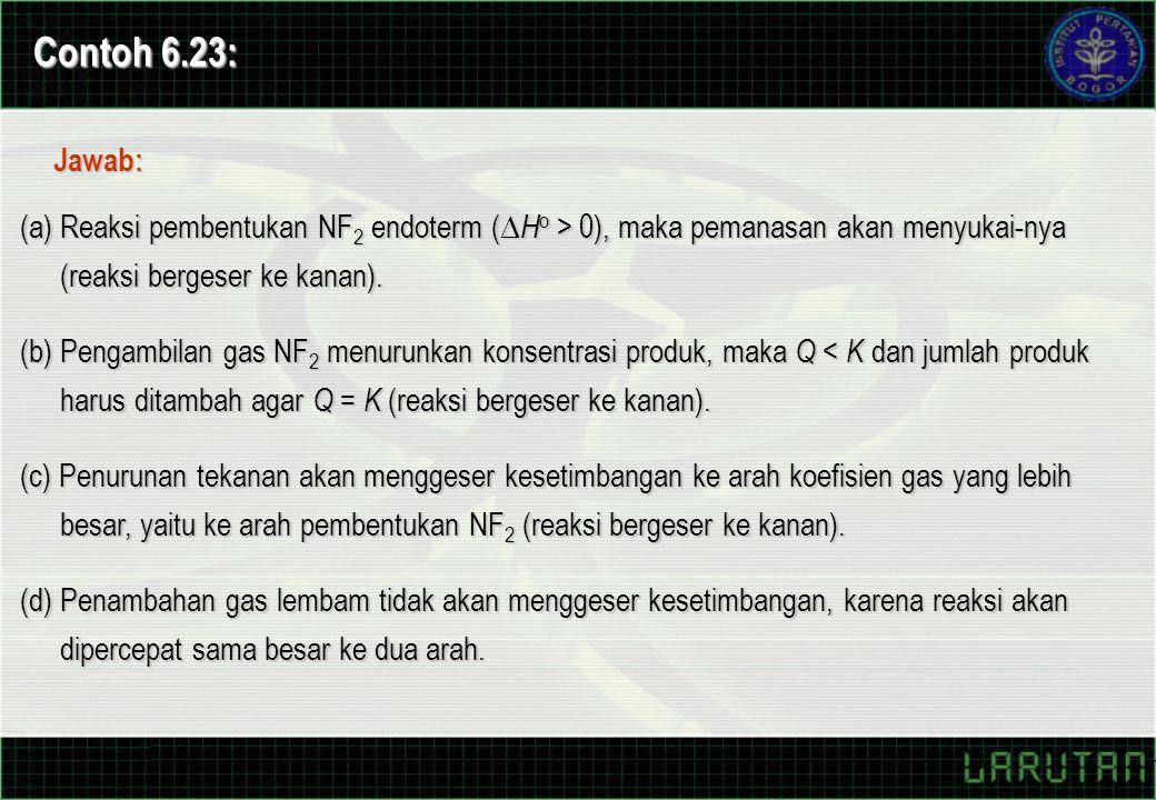 Contoh 6.23: Jawab: (a) Reaksi pembentukan NF2 endoterm (Ho > 0), maka pemanasan akan menyukai-nya (reaksi bergeser ke kanan).