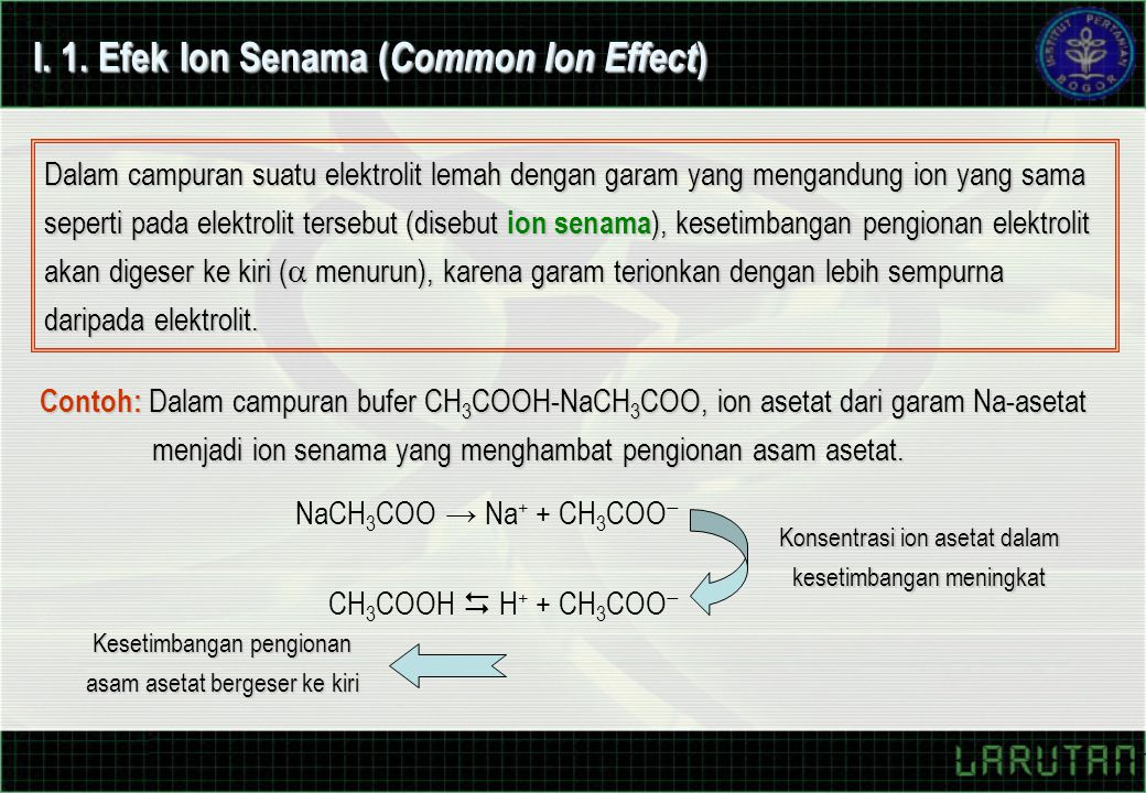 I. 1. Efek Ion Senama (Common Ion Effect)