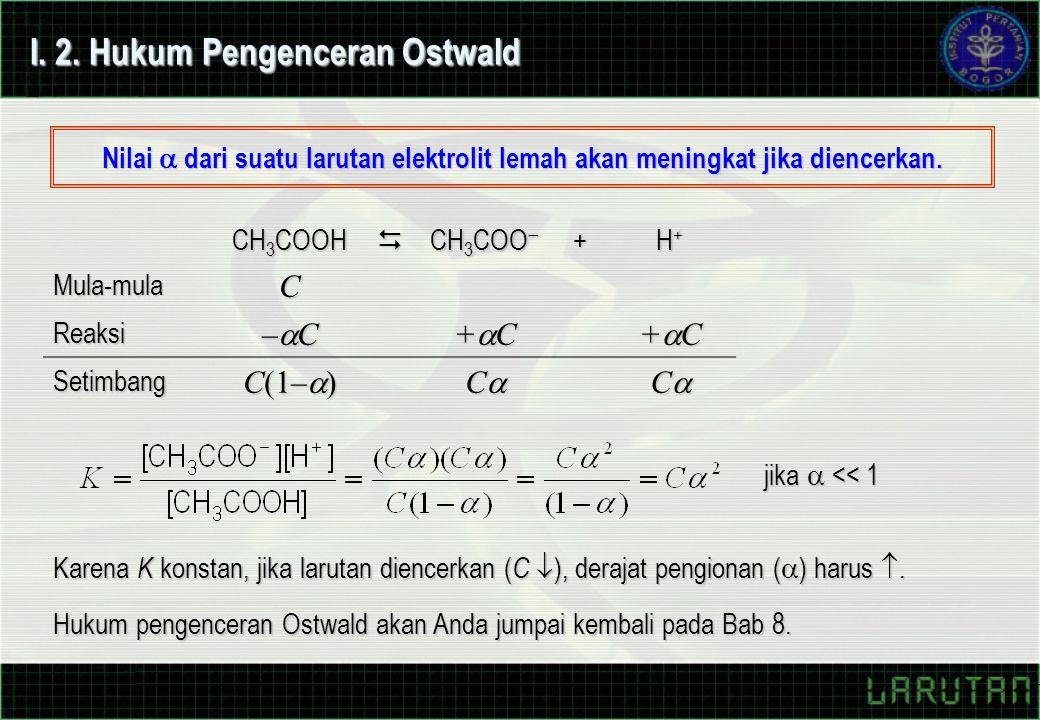 I. 2. Hukum Pengenceran Ostwald