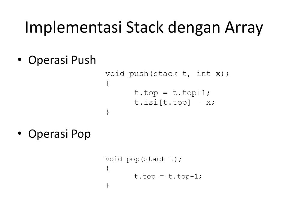Implementasi Stack dengan Array