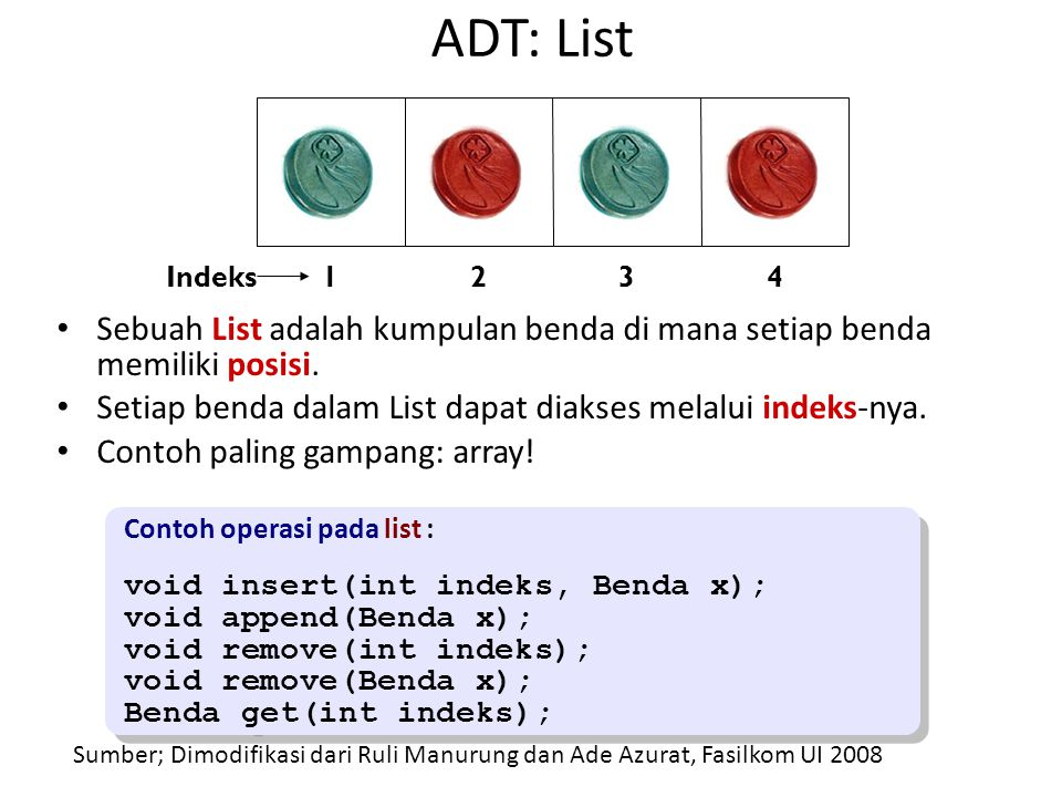 ADT: List 1. 2. 3. 4. Indeks. Sebuah List adalah kumpulan benda di mana setiap benda memiliki posisi.