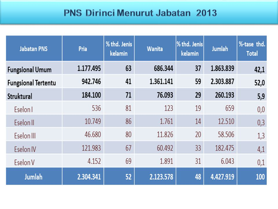 PNS Dirinci Menurut Jabatan 2013