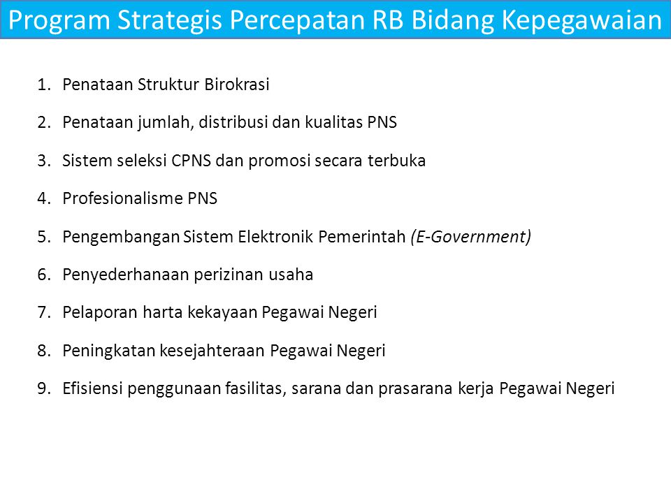 Program Strategis Percepatan RB Bidang Kepegawaian