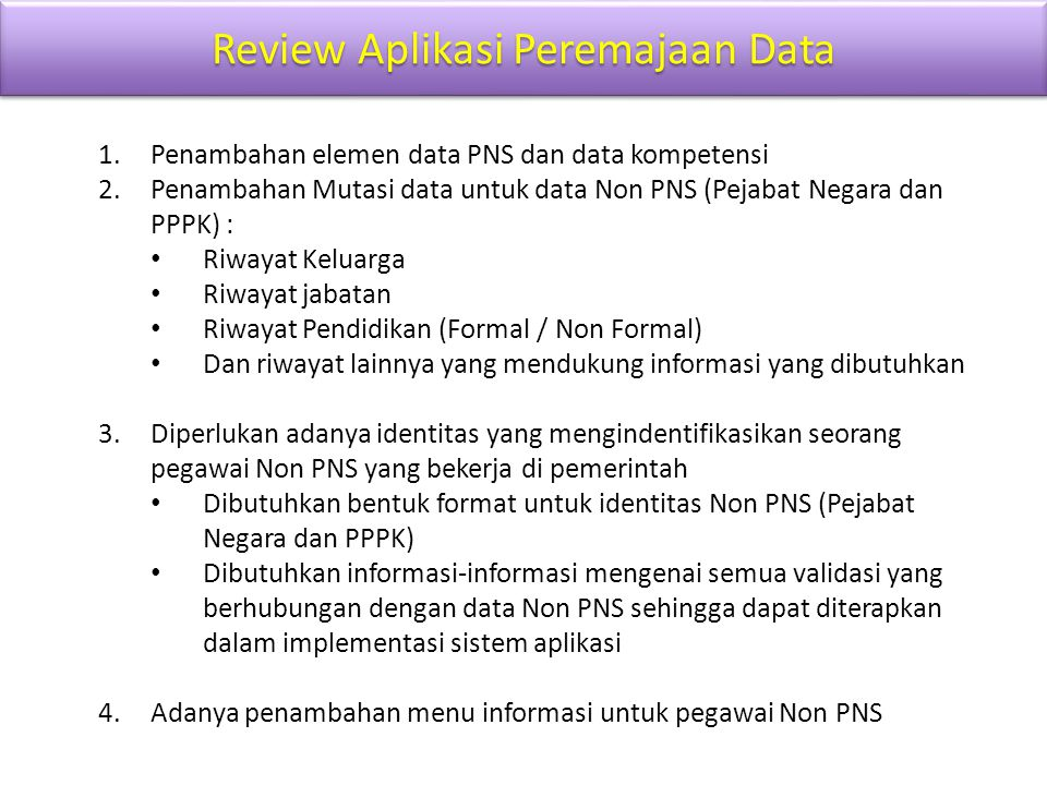 Review Aplikasi Peremajaan Data