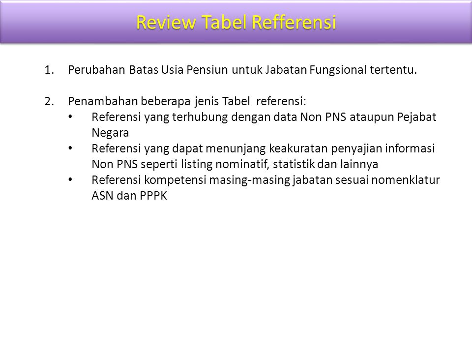 Review Tabel Refferensi