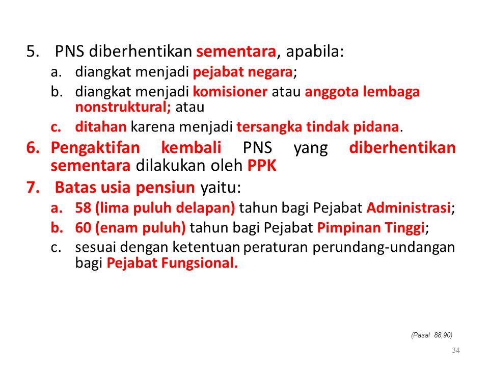 PNS diberhentikan sementara, apabila: