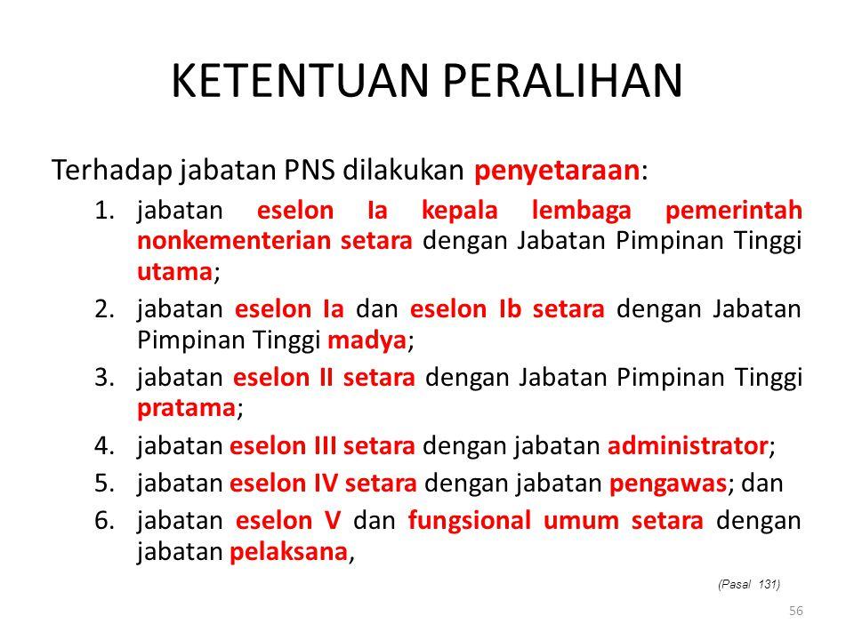 KETENTUAN PERALIHAN Terhadap jabatan PNS dilakukan penyetaraan: