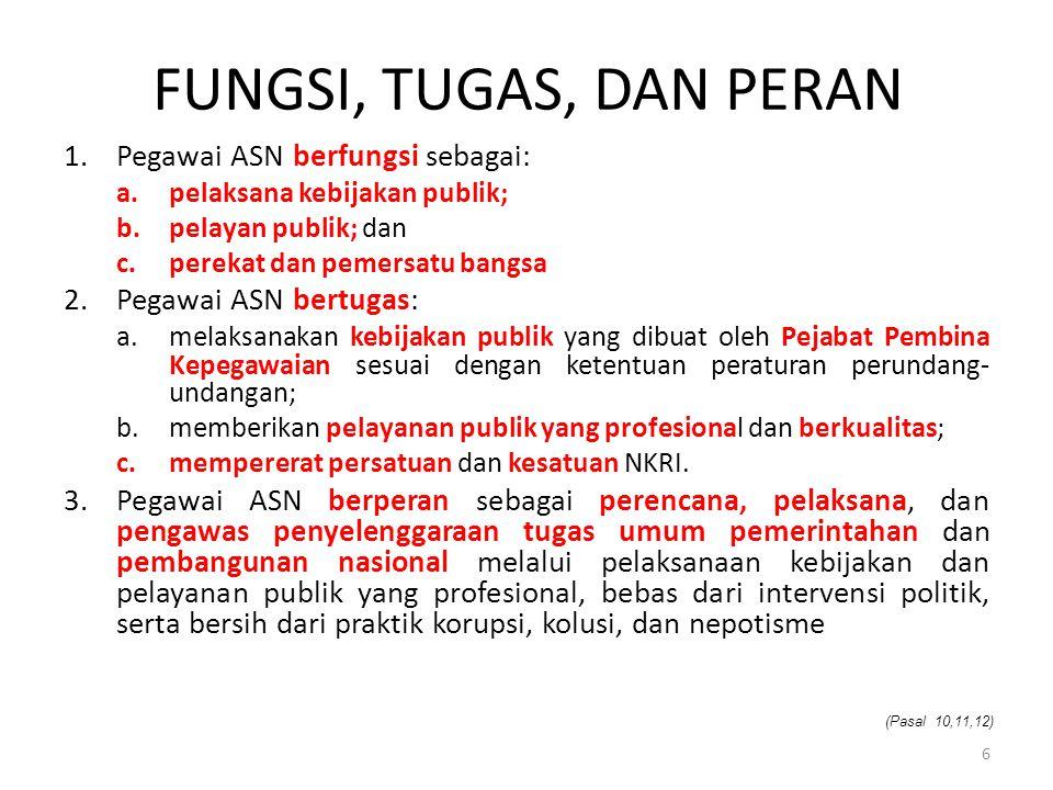 FUNGSI, TUGAS, DAN PERAN Pegawai ASN berfungsi sebagai: