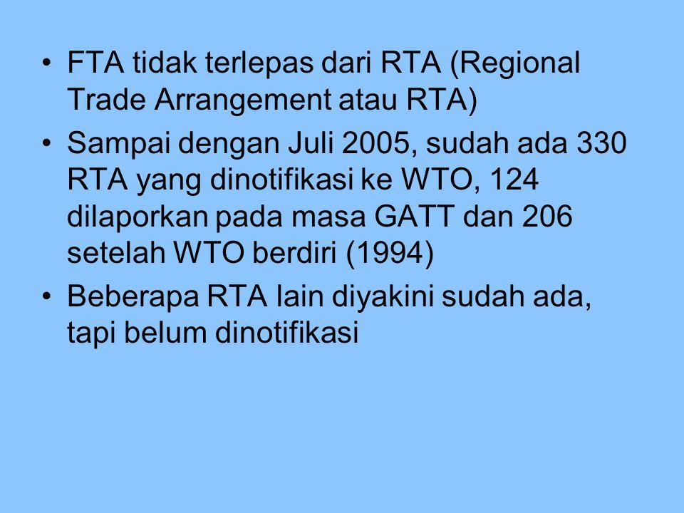 FTA tidak terlepas dari RTA (Regional Trade Arrangement atau RTA)