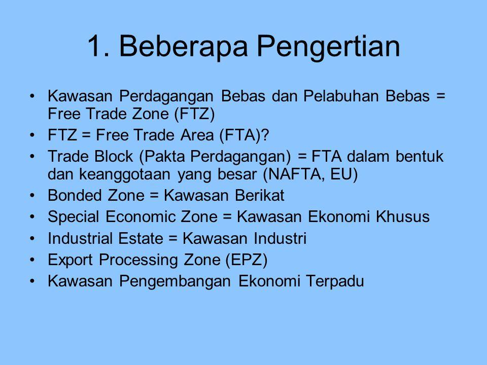 1. Beberapa Pengertian Kawasan Perdagangan Bebas dan Pelabuhan Bebas = Free Trade Zone (FTZ) FTZ = Free Trade Area (FTA)