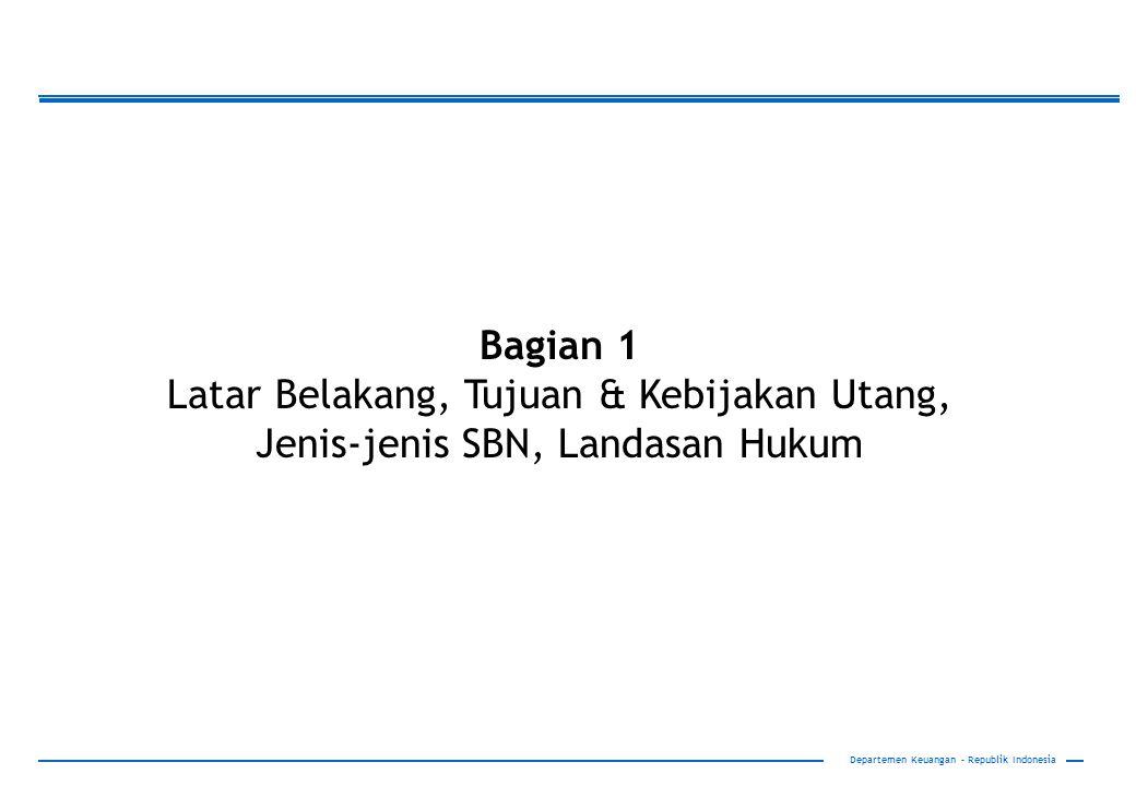 Bagian 1 Latar Belakang, Tujuan & Kebijakan Utang, Jenis-jenis SBN, Landasan Hukum.