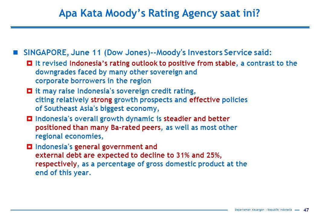 Apa Kata Moody's Rating Agency saat ini