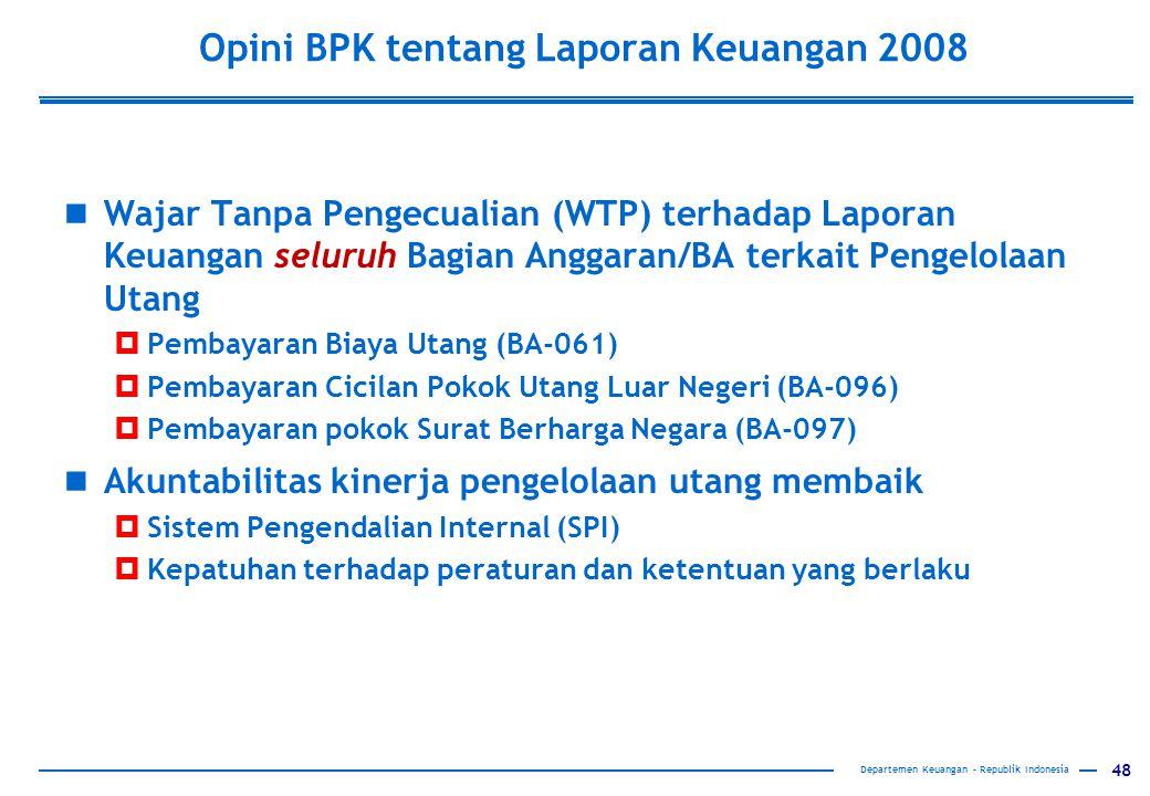 Opini BPK tentang Laporan Keuangan 2008
