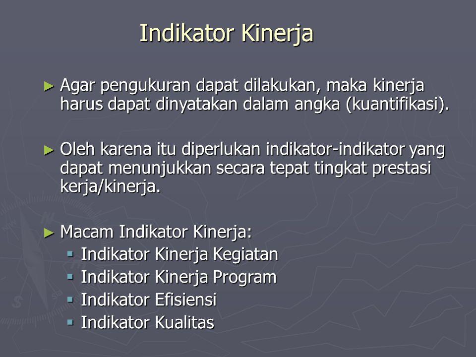 Indikator Kinerja Agar pengukuran dapat dilakukan, maka kinerja harus dapat dinyatakan dalam angka (kuantifikasi).