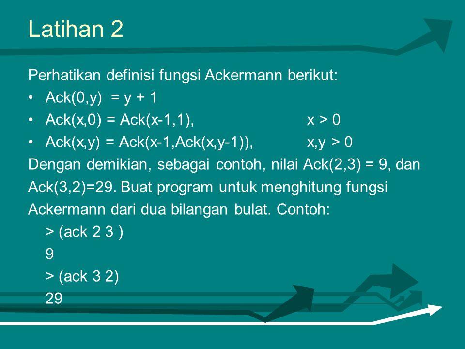 Latihan 2 Perhatikan definisi fungsi Ackermann berikut: